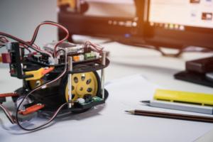 robot technology stem education class concept robots bright led lights programs learning 4236 1216